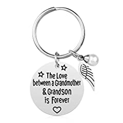 ♥ BEST GRANDMA GIFTS: Motivational keychain gifts for Grandmother to show your love ♥ GRANDMA GIFT IDEA: The Love between grandmother & grandson is forever; Keychain gift for grandma ♥ STAINLESS STEEL JEWELRY: Made of top stainless steel; No Rust; No...