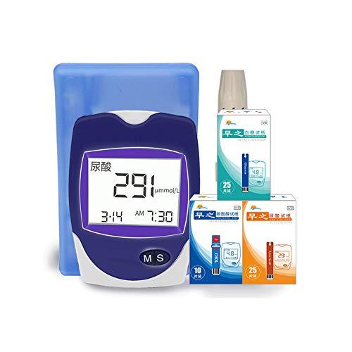 DZWJ 3-in-1-Blutzuckermessgerät-Kit, Blutzucker-, Cholesterin- und Harnsäuretester für zu Hause,A