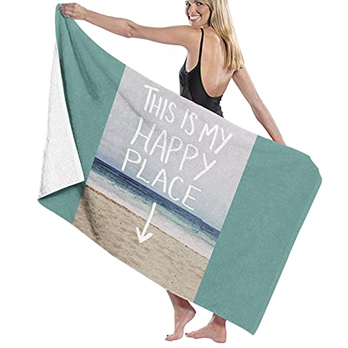Leah Flores This Is My Happy Place Toalla de playa de microfibra, para hombres y mujeres, de secado rápido, de gran tamaño, para piscina, baño, viajes, deportes, hotel (52 x 32 pulgadas)