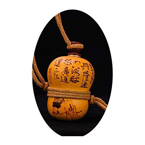 SHTSH Sht Calabaza Calabaza Natural de Vino Botella de Agua del Frasco de la Cadera Calabaza Vino portátiles pequeños Adornos portátiles salón Suerte pequeña Calabaza (Color : Yellow)