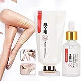 Set de crema depilatoria suave para depilación, crema depilatoria rápida y efectiva, crema para depilación zona íntima para hombres y mujeres, apta para todo tipo de piel rápida