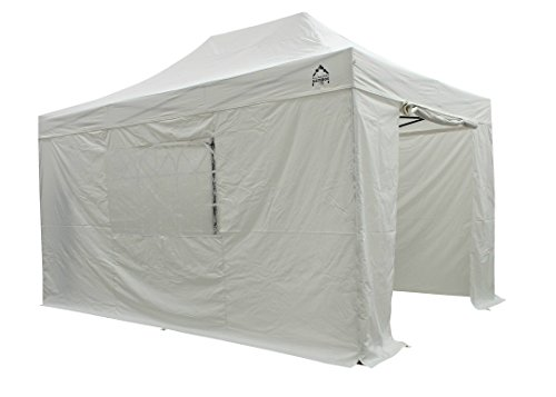 All Seasons Gazebos, 3x4.5m , Heavy Duty, Fully Waterproof, PVC Coated, Premium Pop Up Gazebo With 4 x 100% waterproof zip up Side Panels (Same quality as the roof) Comes with Carry Bag With Wheels and 4 x Upgraded leg weight bags . Choice of colours (White)