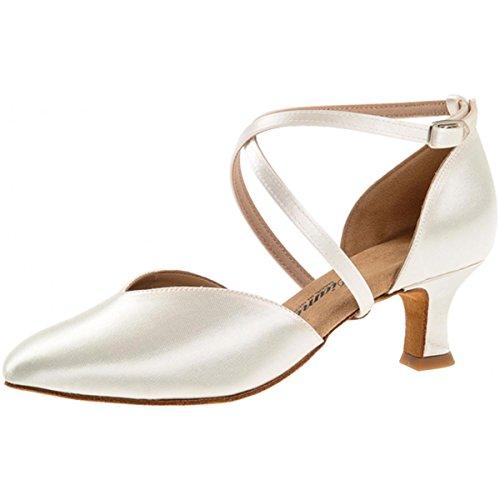 Diamant - Mujeres Zapatos de Baile 107-068-092 - Saten Blanco - 5 cm Latino