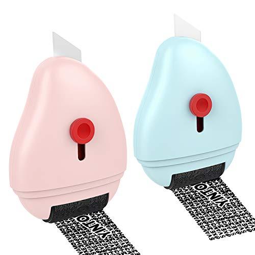 MoKo Rollstempel für Identitätsdiebstahl mit Mini Messer, 2 Stück Nachfüllbar Selbstfärbend Datenschutzstempel, Camouflage Stempel für Privatsphären Vertraulichkeit Persönliche Daten, Rosa/Blau