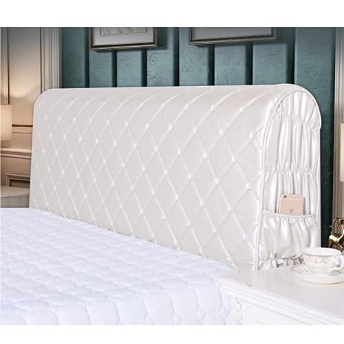 Funda de cabecero de piel sintética, resistente al polvo y al agua, estilo europeo, color blanco, 180 cm