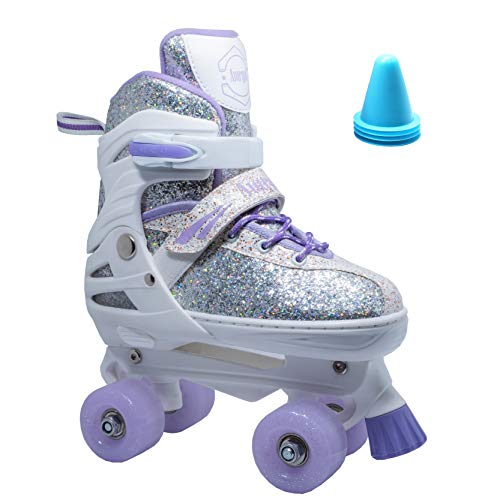 WiiSHAM Fun Roll Adjustable Canvas Roller Skates with Four Piles (Purple White, Small)