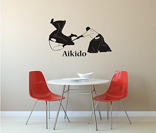blattwerk-design Aikido, Wandaufkleber, Wandtattoo, Kampfkunst, Kampfsport, Japan, Verschiedene Größen und Farben (M070 Schwarz, 450 mm x 270 mm)