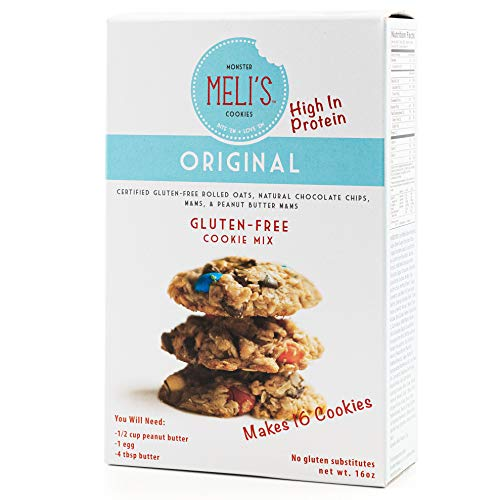 Meli's Monster Cookies, Original Certified Gluten-Free Cookie Mix, Rolled Oats, Chocolate Chip, Peanut Butter, M&M's High Protein Baking Recipe, Kosher (16oz Box)
