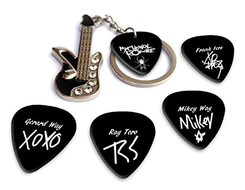 My Chemical Romance Mini Metal Gitarre & Pick Keyring With Plectrums (H) Schlüsselanhänger