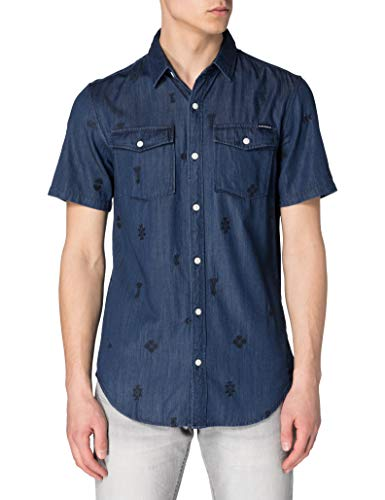 Superdry M4010329A Chemise à Boutons, Rinse Wash EMB, L Homme