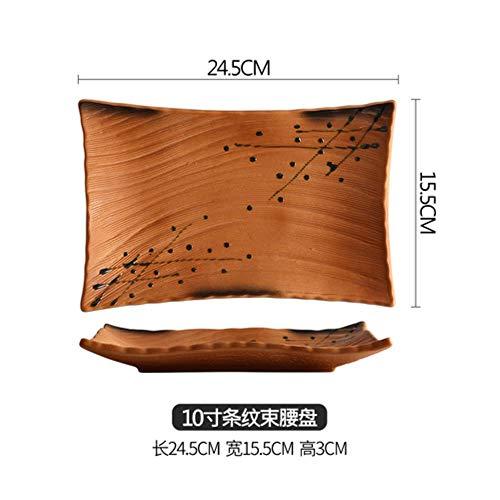 DONG Japanische keramische rechteckige Platte personalisierte Restaurant Teller flach Sushi Teller Schaukel Platte Dessertteller Geschirr,1pcs-10Inch