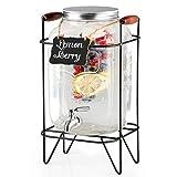 water 2 gallon dispenser - 2 Gallon Glass Beverage Dispenser with Infuser, Metal Base, Stainless Steel Spigot & Hanging Chalkboard - Outdoor Drink Dispenser for Lemonade, Tea, Cold Water & More