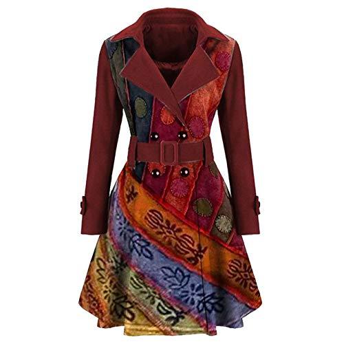 Briskorry Wintermantel Damen, Trenchcoat mit Gürtel Wollmantel Freizeit Outwear Elegant Revers Parka