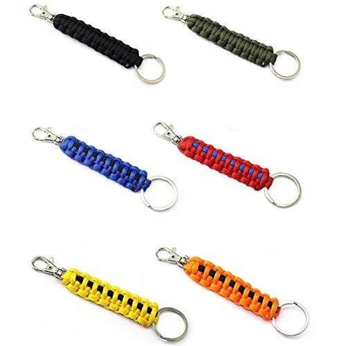 WENTS Paracord Schlüsselanhänger mit Karabiner Geflochtene Lanyard Ring-Haken-Clip für Schlüssel Messer Taschenlampe Draussen Camping Wandern Rucksack Passen Männer Frau 7PCS
