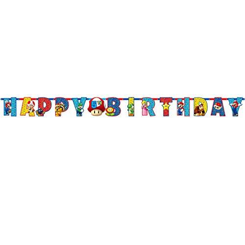 Amscan - Bolsa de regalo para fiesta infantil con temática de Mario Bros, plástico papel vinilo, Multicolor, 10 1/2' x 10'