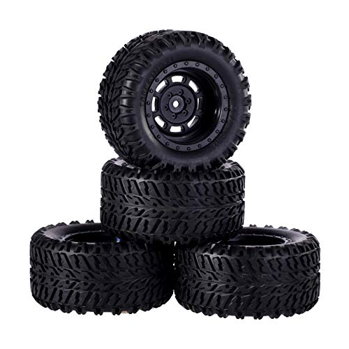RCStation 1/10 Scale RC Off-Road Buggy Tires and Wheels 4PCS 12mm Hex Heb Pre Glued RC Tires and Wheels Rims Set with Foam Inserts for Buggy Small Monster Truck, Black