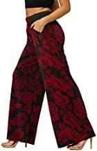 Palazzo Pants with Pockets for Women - Many Colors and Prints - High Waisted Wide Legged - Wildfire - One Size - LG237X197
