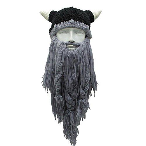 Wikingerhut und Wikingerbart von Aolvo, gestrickter Barbarenbart in Einheitsgröße, hellgrau, Einheitsgröße