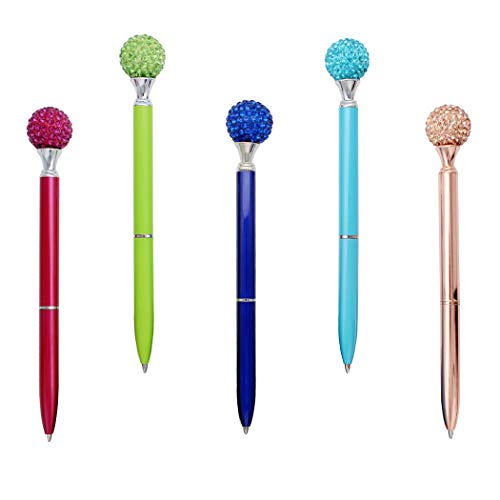 Gullor 5PCS Diamond Ball Retractable Ballpoint Pen, Bling Metal Ballpoint Pens, Multicolor B