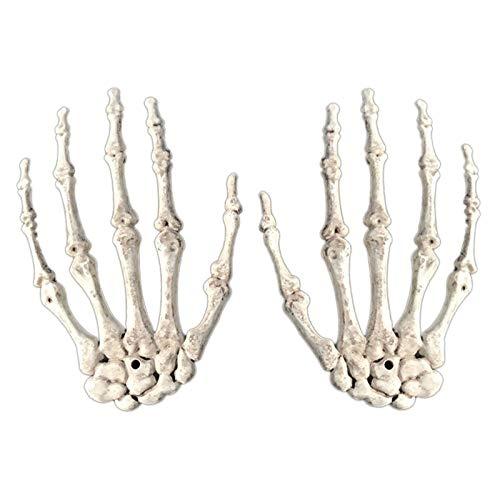 Xxmk Decoración de Halloween - 1 par decoración de Halloween realista Tamaño vida falsa manos de esqueleto de plástico del partido del zombi mano del hueso humano terror Puntales de miedo Decoración d