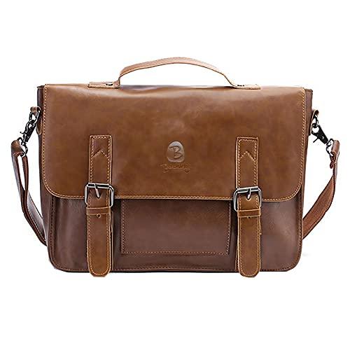 Berchirly Pu Leather Messenger Laptop Bags 14 Inch Computer Briefcase Shoulder Bag Satchel