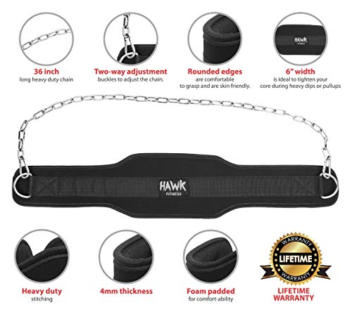 Hawk Fitness Dip Belt With Chain For Men & Women Dipping Pull Up Belt Crossfit Weight Lifting Training Gym Bodybuilding Weightlifting!