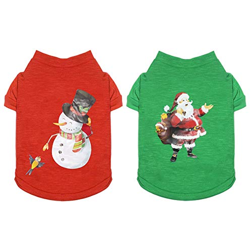 Pack of 2 Christmas Clothes for Dogs: Warm Soft 100% Cotton Pet Santa & Snowman Costume - Festive Christmas Themed Cat Sweaters for Small Dogs Boy Girl (S)