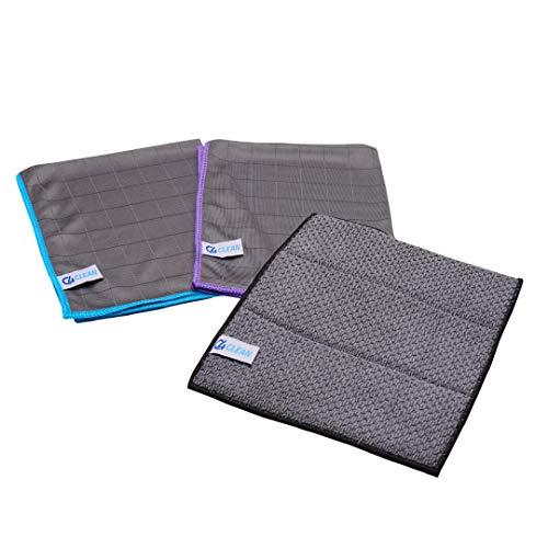 4Clean® Vorreinigungstücher & fusselfreie Carbon Mikrofasertücher für die professionelle Reinigung I Streifenfreie Allzwecktücher für Küche, Auto, Bad, Fenster (3er Set - 2 Tücher+ 1 Schwamm)
