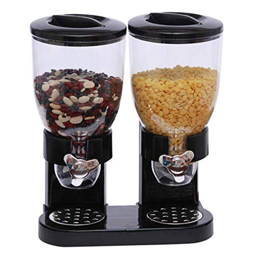 YWT Doppelkammer-Trockenfutter luftdicht Getreidespender Dual Control, mit eingebauter Auffangschale, für die Küche zu Hause, Hundefutter Candy, schwarz