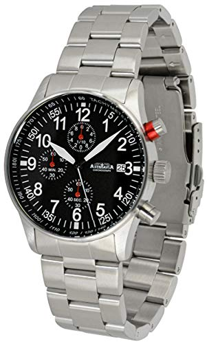 Astroavia Herren-Armbanduhr Chronograph Quarz mit Edelstahl Armband massiv N91S