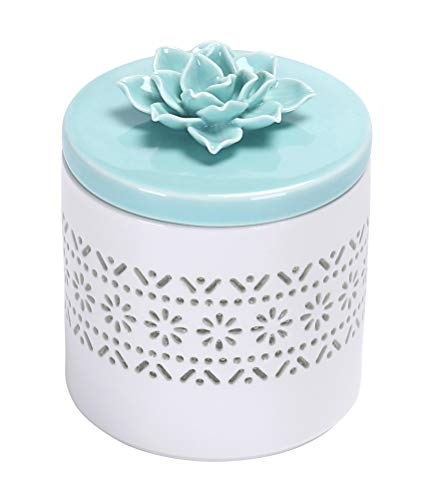 Bico Handcrafted Porcelain Green Lotus Translucent 17oz Storage Jar with Airtight lid for for Bathroom and Dresser