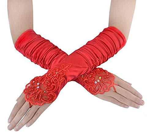 FORLADY Lange Abend Handschuhe Satin Elbow Handschuhe Braut Kostüm Handschuhe Hochzeit Prom Opera Handschuhe Satin farbigen Kleider Handschuhe (Fingerlose Falte Rot, Eine Größe)