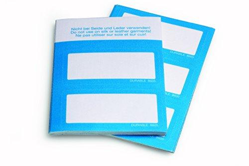 Durable 860506 Textil-Namensschilder (selbstklebend, 30 x 60 mm) 50 Stück, weiß mit blauem Rahmen