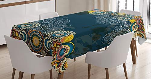 ABAKUHAUS Psichedelico Tovaglia, Mandala Paisley, Rettangolare per Sala da Pranzo e Cucina, 140 cm x 200 cm, Blu Giallo