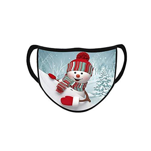 Skang Mundschutz mit Weihnachten Motiv Baumwolle Waschbar Mund und Nasenschutz Gesichtsabdeckung Drucken Face Schal Multifunktionstuch Herren Damen