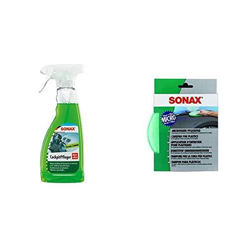 SONAX CockpitPfleger Matteffect Green Lemon (500 ml) reinigt und pflegt alle Kunststoffteile & MicrofaserPflegePad (1 Stück) für gleichmäßiges Auftragen von Kunststoffpflegemitteln im Innenraum