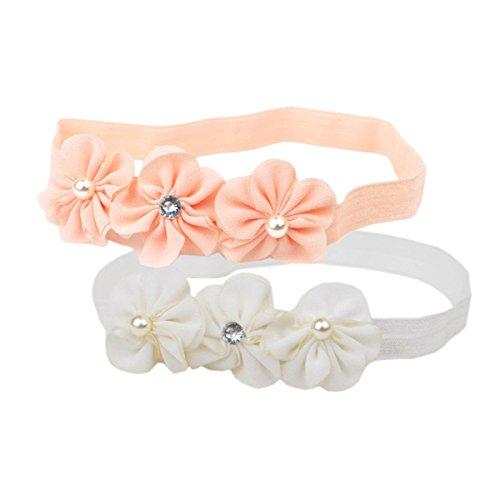 Hocaies Baby beautful flower headband Mädchen Kinder Prinzessin Stretch Stirnbänder Babygeschenke Taufe Geschenksets (01, M)