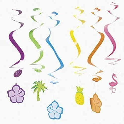 12 Tropical Spiral Hanging Cutouts by OTC