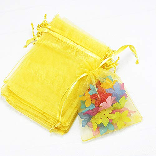 Outdoorfly 50PCS Drawstring Organza Bags 5x7 Inches Yellow Transparent Jewelry Favor Pouches Baby Shower Party Wedding Gift Bags Chocolate Candy Bags(50PCS Yellow)