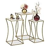 relaxdays set di 3 supporti per piante quadrati, in metallo e mdf, moderni, per interni, bianco/oro