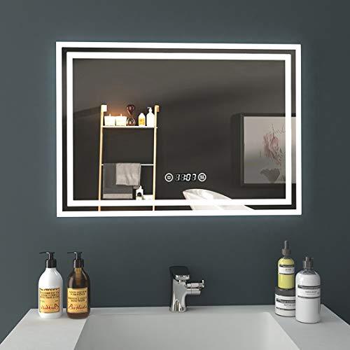 EMKE LED Badspiegel, 50x70cm Badezimmerspiegel mit Beleuchtung 3 Lichtfarbe 3000-6400K kaltweiß Neutral Warmweiß Lichtspiegel Badezimmerspiegel mit Touchschalter+Beschlagfrei+Uhr