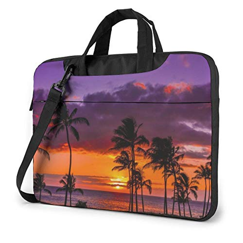 15.6 inch Laptop Shoulder Briefcase Messenger Newport Beach Sunset Coconut Tree Red Purple Tablet Bussiness Carrying Handbag Case Sleeve