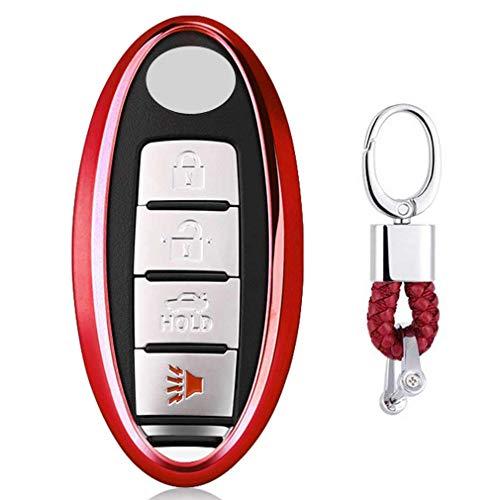 Rouge Auto clés Sac Housse de Protection pour Nissan Altima Maxima Armada Murano Rogue Sedan Pathfinder 3/4/5 Buttons Infiniti