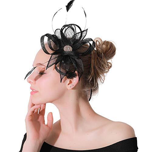Fascinadores de mujeres Plumas para el cabello Cocktail Ball Ball Boda Iglesia Té Party Hat For Women Tea Party Headband Wedding Flower Malla Para niñas y mujeres. ( Color : Black , Size : Free size )