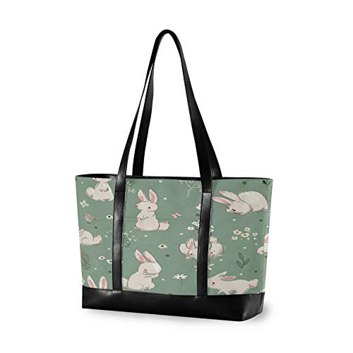 Laptop Tote Bag with Cute Hare with Wild Flowers Elements Fits 15.6-17 Inch Laptop, Women's Lightweight Tote Bag Shoulder Bag Messenger Bag