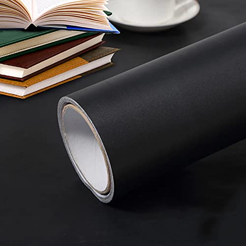 Osceage Matte Black Contact Paper 15.7' x118' Black Wallpaper Self-Adhesive Removable Wallpaper Black Peel and Stick Countertops for Kitchen Cabinet Furniture Countertop Paper Textured Wallpaper Vinyl