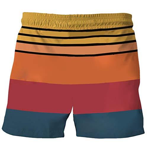 SSMENG Herren Badehose Casual Badeshorts Kordelzug Elastische Taille Schnelltrocknender 3D-Grafikdruck Sommer-Strand Kurze Hose Badebekleidung für Männer(Mehrfarbig,4XL)