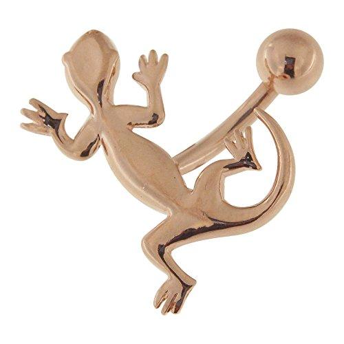 3 micron 18K Rose goud vergulde effen Tribal Gecko ontwerp Sterling zilveren navelpiercing