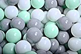 MEOWBABY 100 ∅ 7Cm Bolas Certificadas para Niños Bolas de Baño de Colores Bolas de Plástico para Niños Piscina Fabricadas en EU Menta/Blanco/Gris