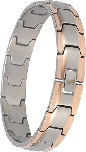Smarter LifeStyle Elegante pulsera de acero quirúrgico para hombre, con eslabones anchos, 4 colores a elegir